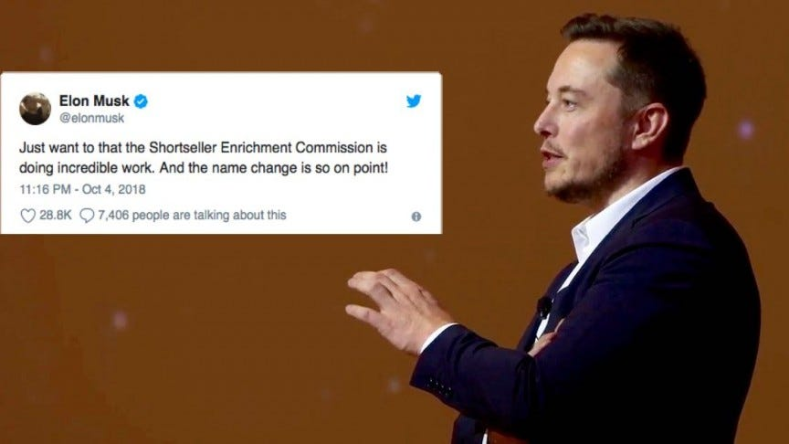 Elon Musk Mocks SEC and Criticizes Short-Sellers on Twitter