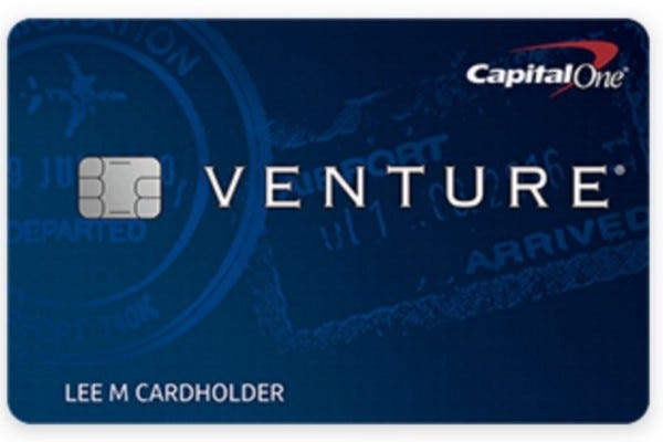 A front view of the CapitalOne Venture Rewards credit card.