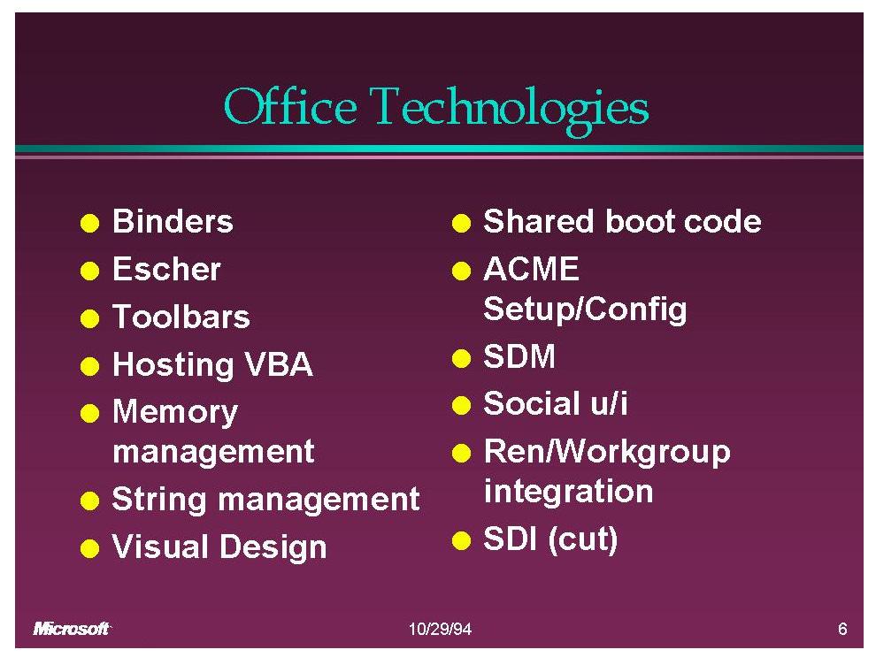 Office Technologies (Slide): Binders, Escher, Toolbars, VBA, Memory Mgmt, String Mgmt, Visual Design, Shared boot code, ACME setup, SDM, Social UI, Ren, SDI