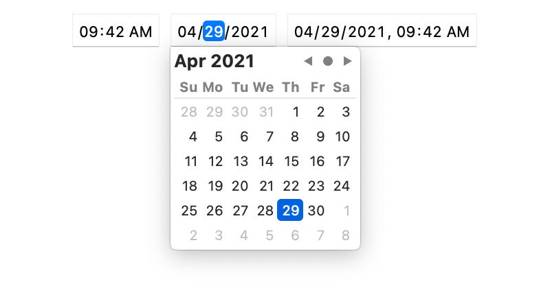 Date picker interface for date input field with time and date-time inputs