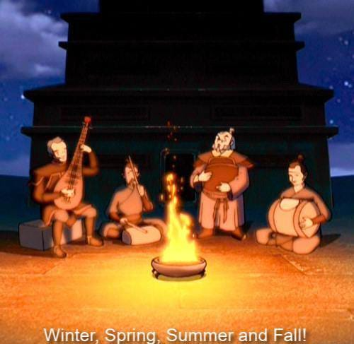 """I see a lot of """"Leaves from the vine."""" But what about """"Four seasons""""? :  TheLastAirbender"""