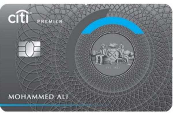 A front view of the Citi Premier credit card.