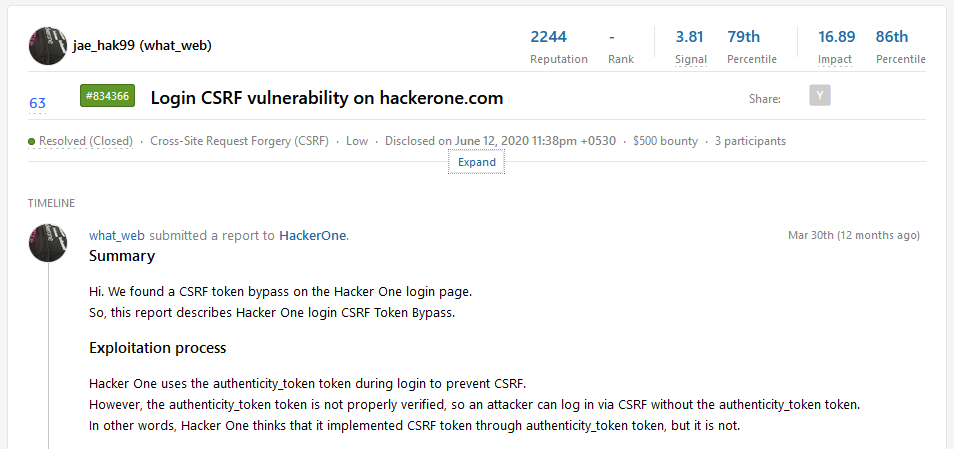 A publicly disclosed report on Hackerone