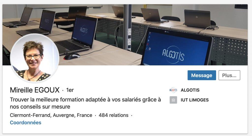 profil LinkedIn de Mireille Egoux - Le Puy de la Com
