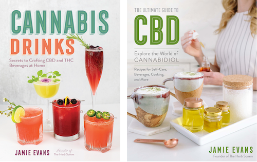 Covers of Cannabis Drinks and The Ultimate Guide to CBD, both by Jamie Evans