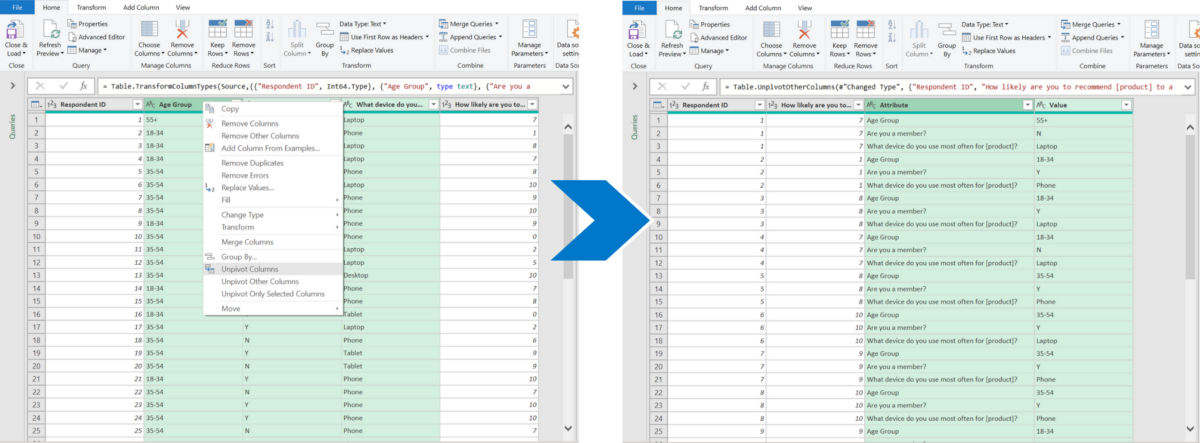 Using Power Query to unpivot data from columns to rows