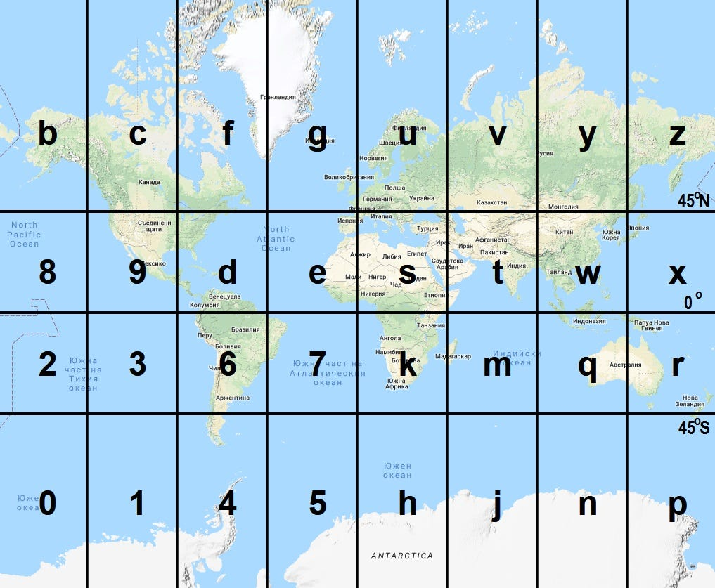 Copied over from Figure 1. Initial Earth map division into 32 spaces using the original Geohash system. Google Map and Google Web Mercator projection are used in this visualisation.  Link: https://petrov.free.bg/academic/publication/geohash-eas-modified-geohash-geocoding-system-equal-area-spaces/