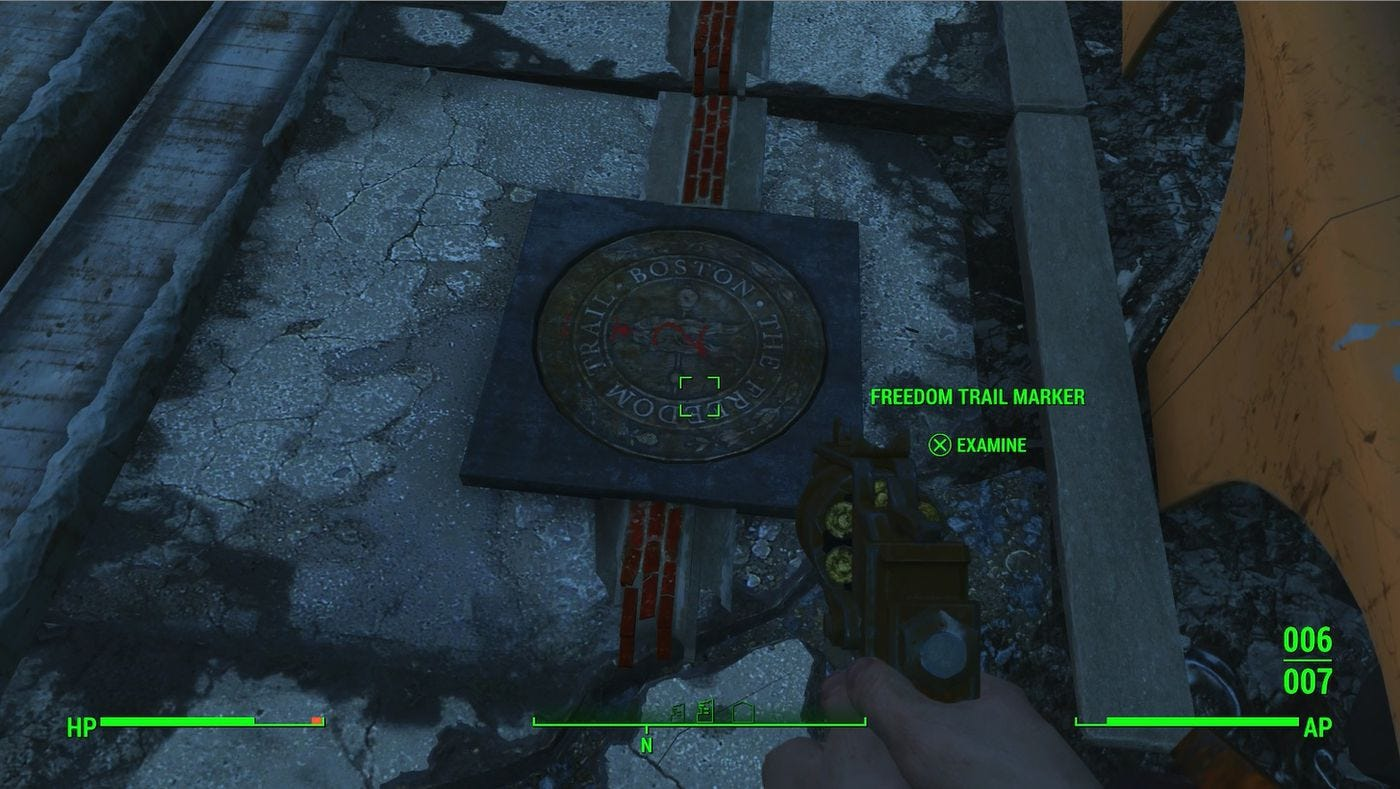 Screenshot from the video game Fallout 4, a postapocalyptic story set in Boston. This image highlights the role The Freedom Trail plays in one of the game's missions.