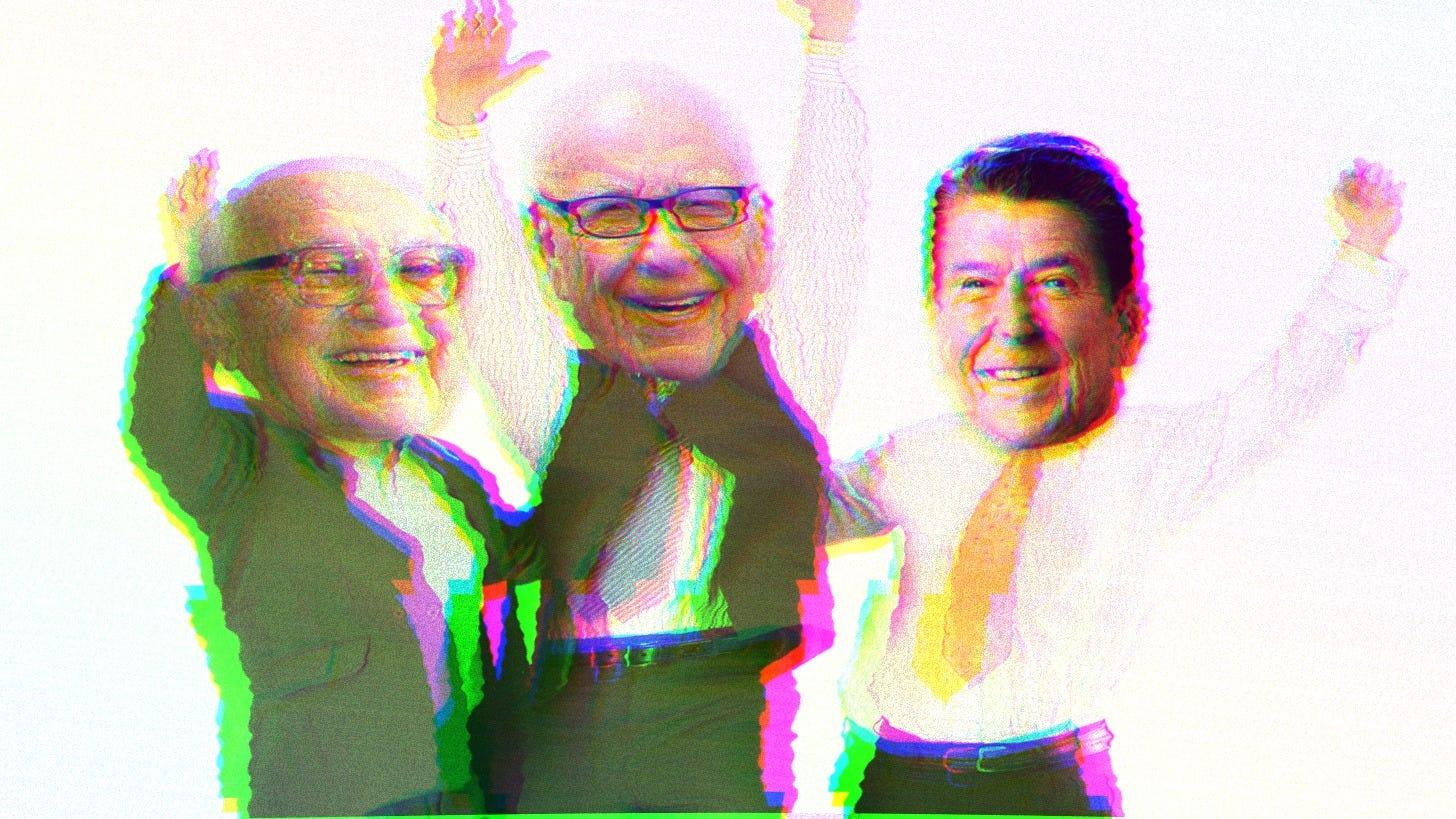 Composite of Milton Friedman, Rupert Murdoch and Ronald Reagan.