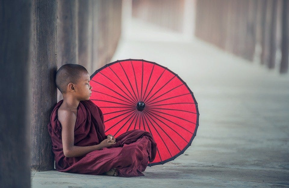 Boy, Monk, Umbrella, Child, Kid, Sitting, Rest, Relax