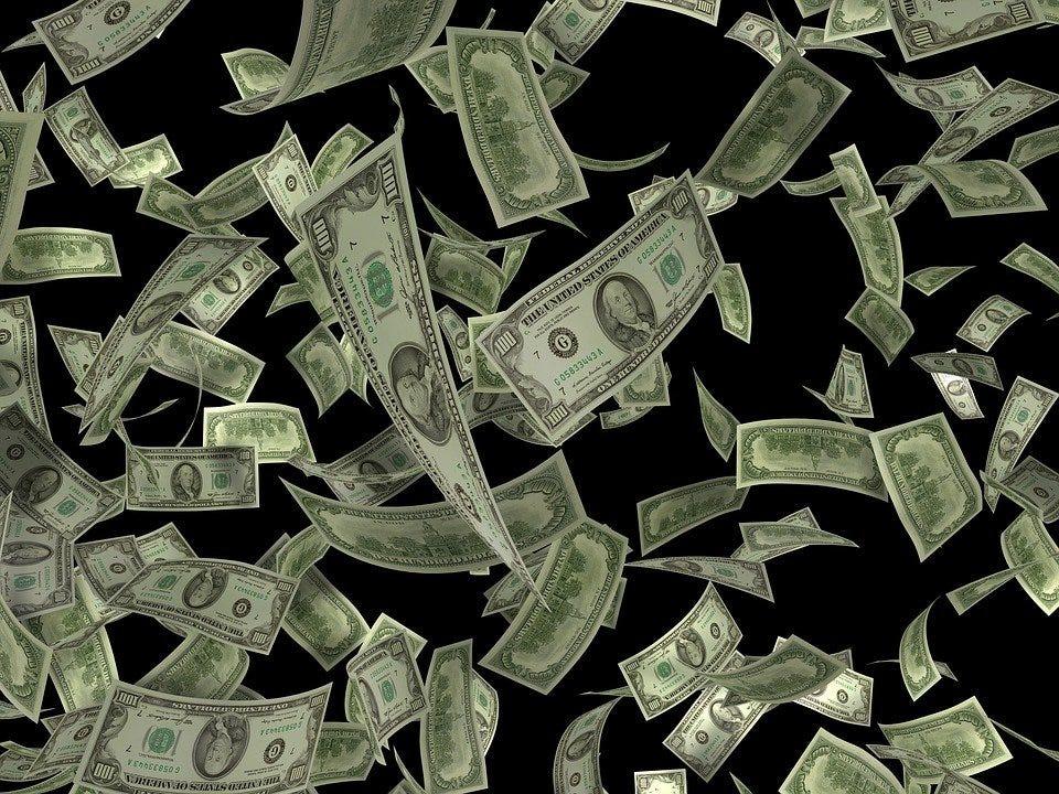 Dollar, Flying, Concept, Business, Money, Cash