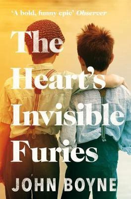 Cover of The Heart's Invisible Furies—Two young boys stand w/ backs to the camera, the text of the title overlaid on them.