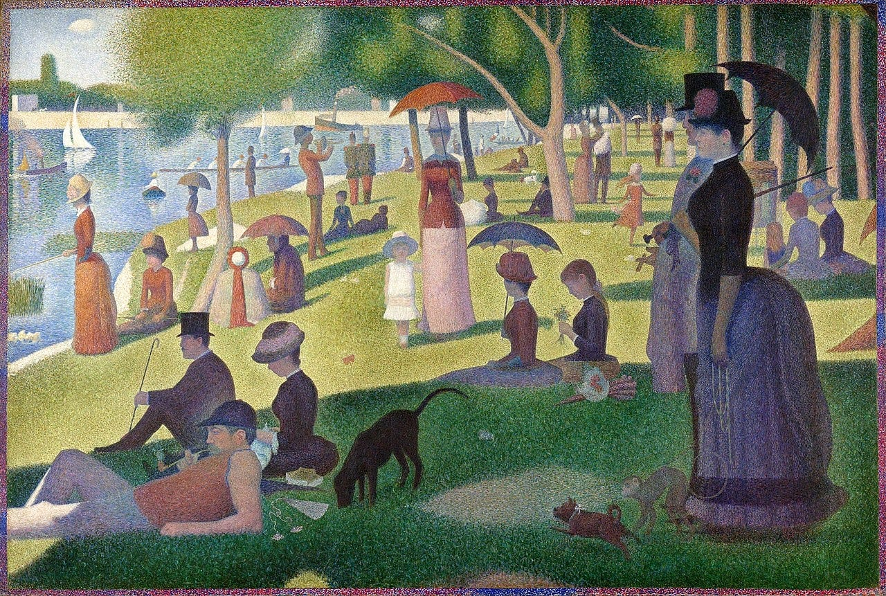 The painting is A Sunday Afternoon on the Island of La Grande Jatte by Georges Seurat. There are guests and animals strewn about the bright green grass of a public park wearing Victorian clothes. There are trees located in the background with water to the very left. The people are painted in a warm tone with pinks, purples, and brown clothing.