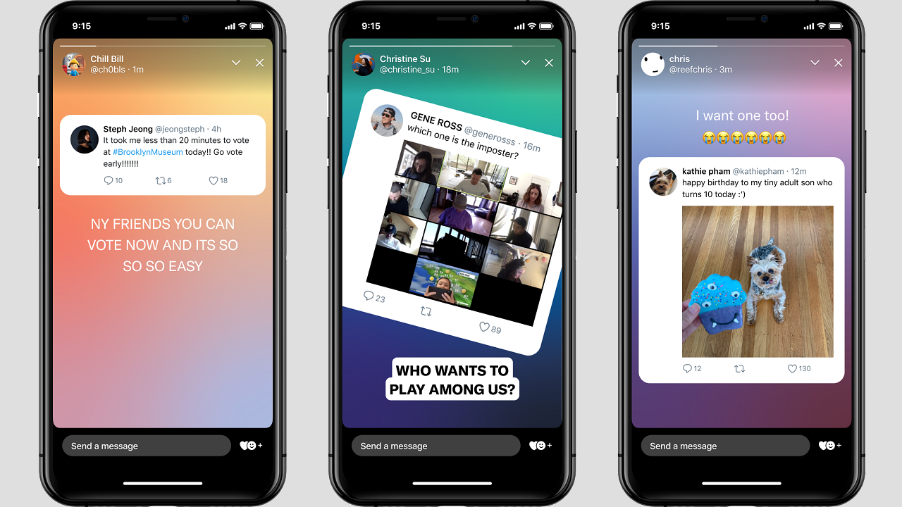 Fleets shown on three smartphone screens (Twitter)