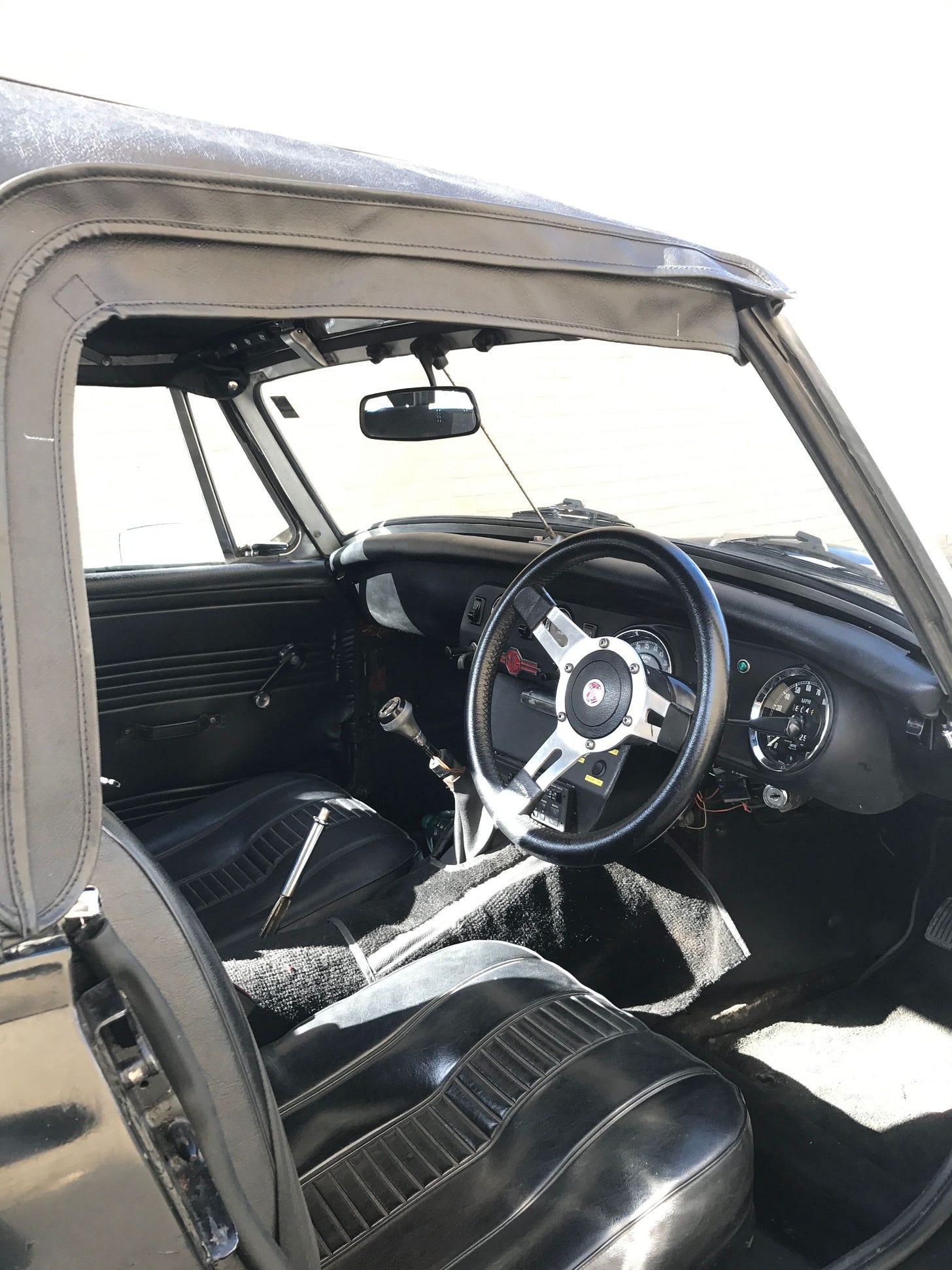 MG Midget interior - driver's side