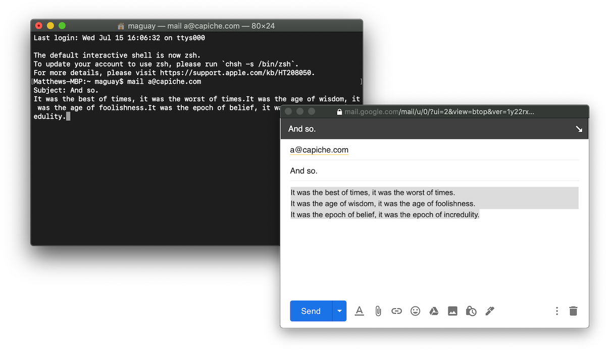 The Gmail compose window—and the Unix Mail command