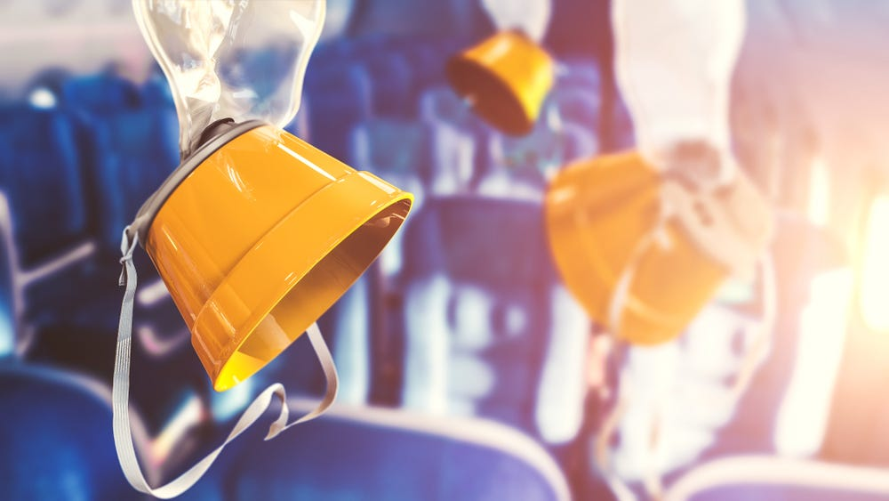 Airplane oxygen masks with lens flare. 3D rendering, illustration