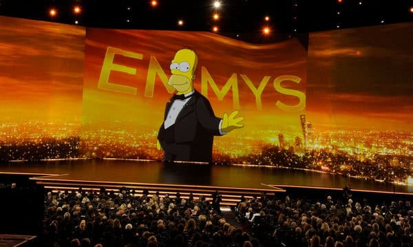 Homer Simpson briefly filled in during the otherwise host-less 71st Primetime Emmy Awards on Sunday night.