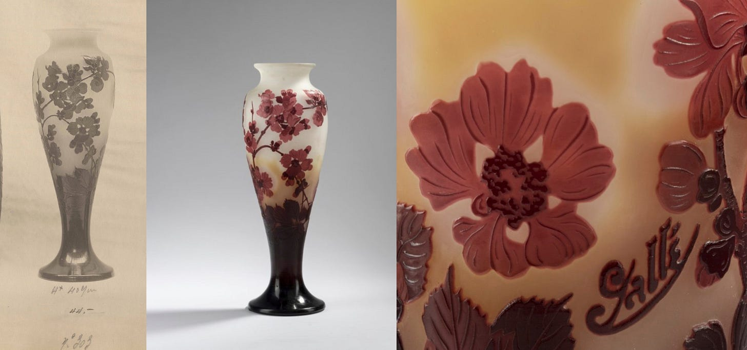 Japanese quince vase, ca 1925-1927, as seen on the Gallé album in the Rakow library (pl. 29, no 303) and on a recent sale (© Quittenbaum 17/11/2020).