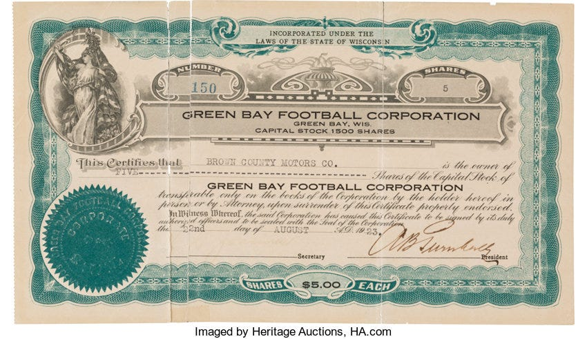 1923 Green Bay Packers Stock Certificate.... Football Collectibles ...