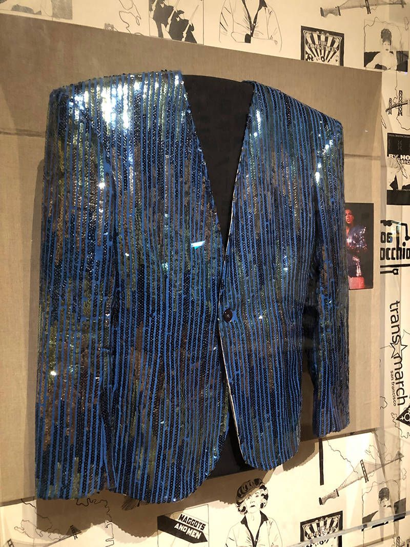 Sylvester's blue sequined jacket, made by Pat Campano circa 1985.