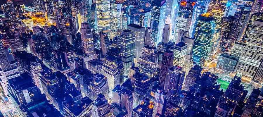 Glowing city lights at night