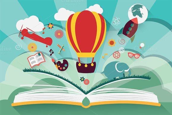 Imagination concept | Balloon illustration, Open book, Vector art