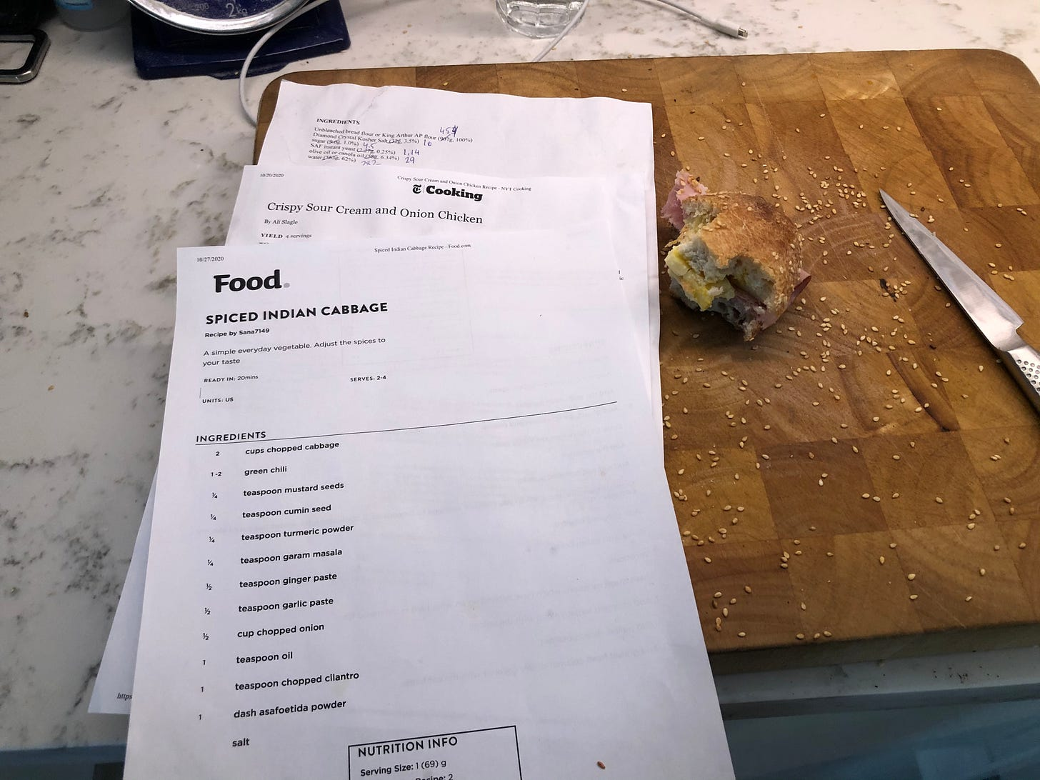 Printouts of various recipes