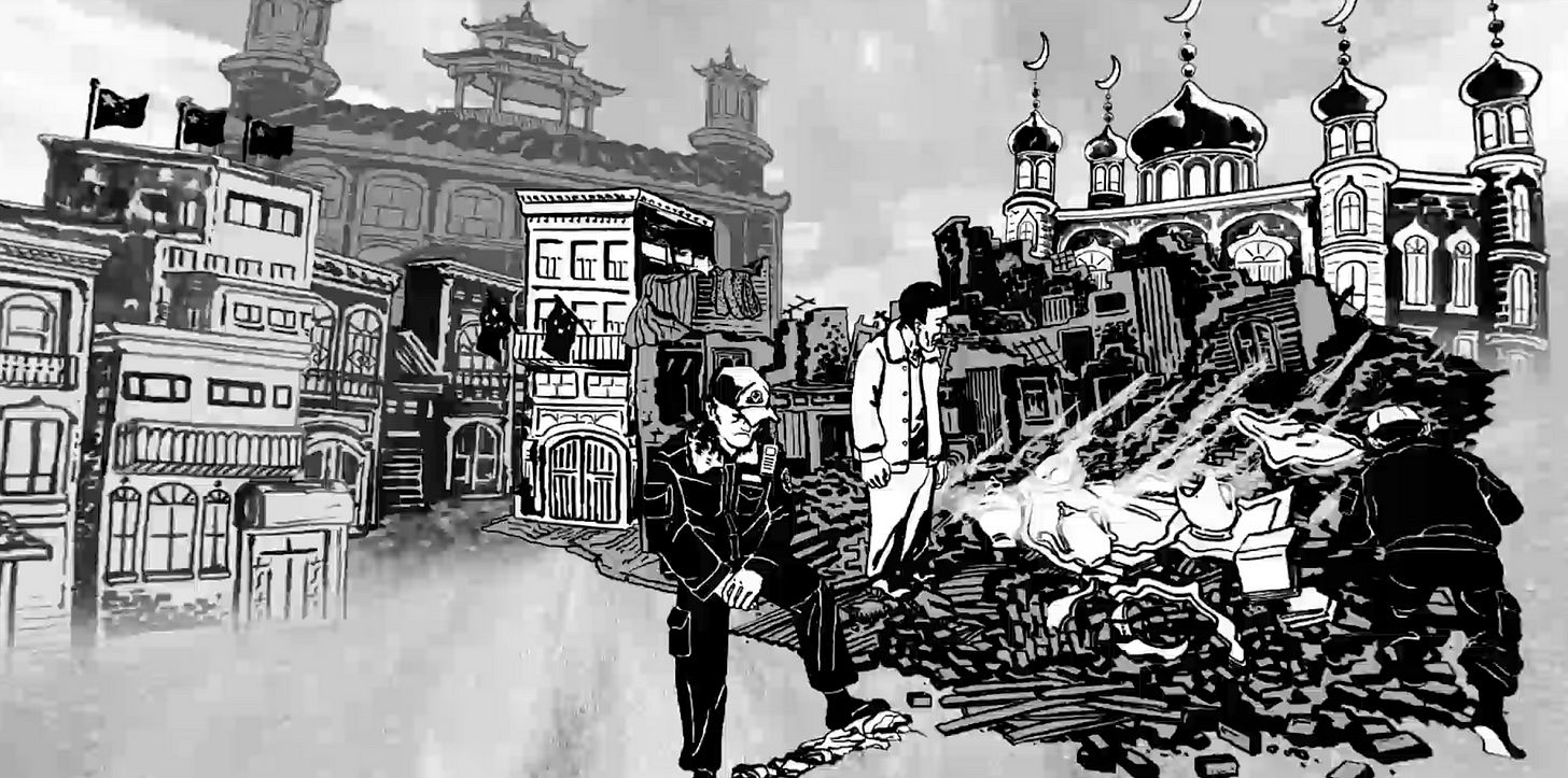 Illustration of a destroyed and transformed town in Xinjiang