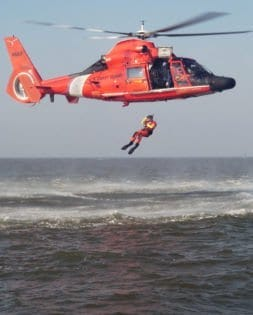 FREEPORT, Texas - Coast Guard Petty Officer 3rd Class Phil Wojitas, a rescue swimmer at Air Station Houston, conducts a freefall deployment here Friday, March 16, 2007. Rescue swimmers, like Wojitas, constantly train to hone their life-saving skills to better prepare themselves for real rescue cases. U.S. Coast Guard photo by PA1 Adam Eggers