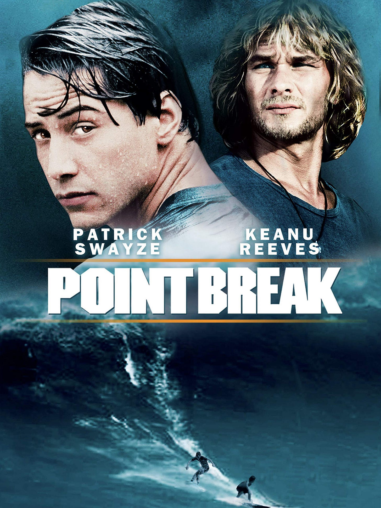 Point Break Movie Poster with Patrick Swayze and Keanu Reeves on the poster.