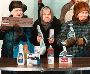 Russian citizens set up a makeshift Amway table on the streets of St. Petersburg.