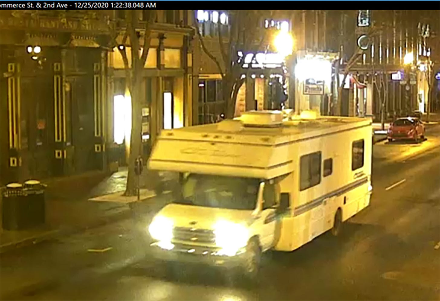 NASHVILLE, TENNESSEE - DECEMBER 25: In this handout image provided by the Metro Nashville Police Department, a screengrab of surveillance footage shows the recreational vehicle suspected of being used in the Christmas day bombing on December 25, 2020 in Nashville, Tennessee. A Hazardous Devices Unit was en route to check on a recreational vehicle which then exploded, extensively damaging some nearby buildings. According to reports, the police believe the explosion to be intentional, with at least 3 injured and human remains found in the vicinity of the explosion. (Photo by Metro Nashville Police Department via Getty Images)