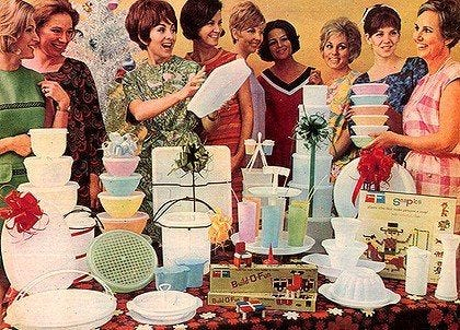 Tupperware parties...I look at this picture & see the contents of ...