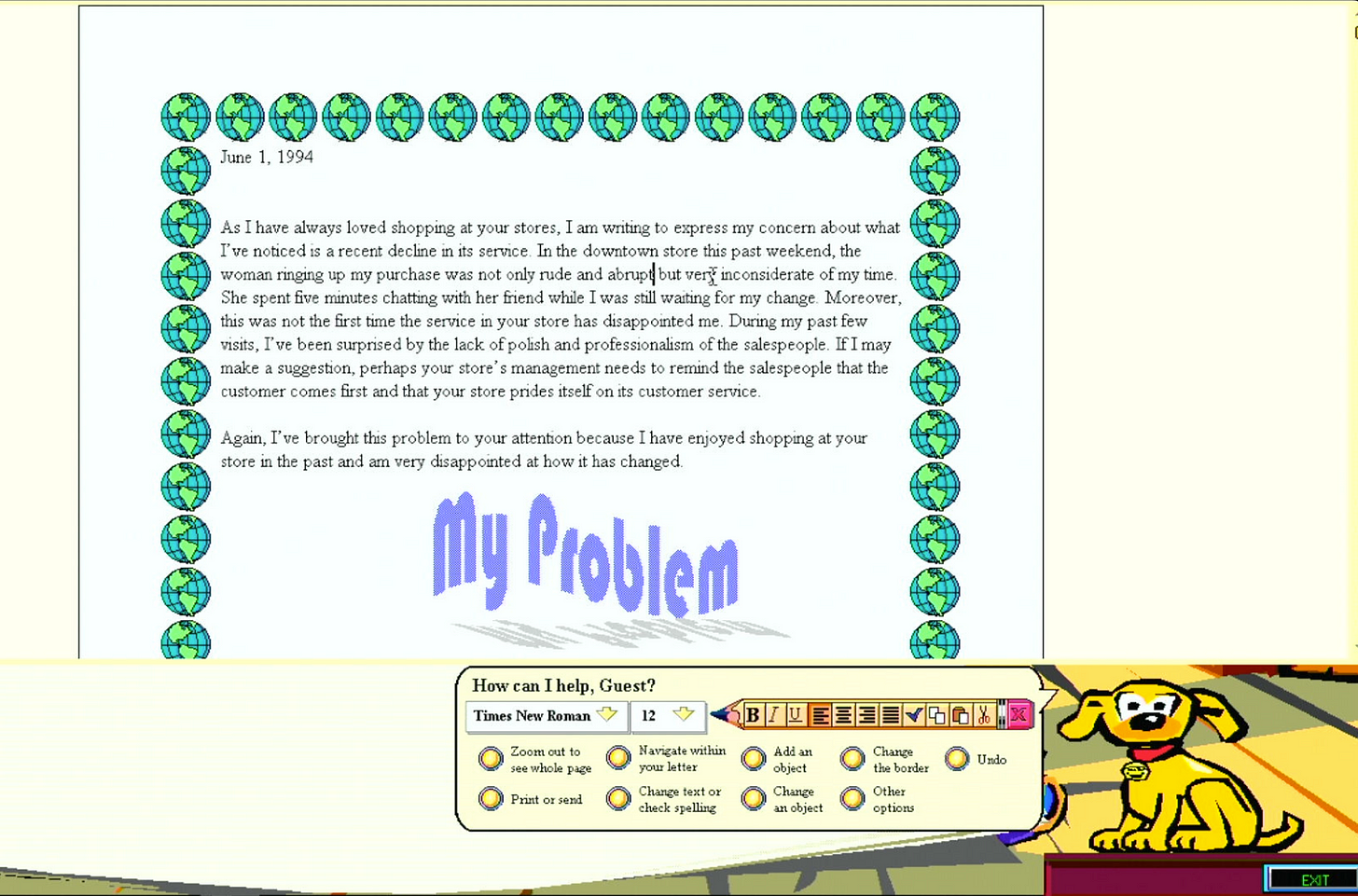 Writing a letter with Microsoft Bob