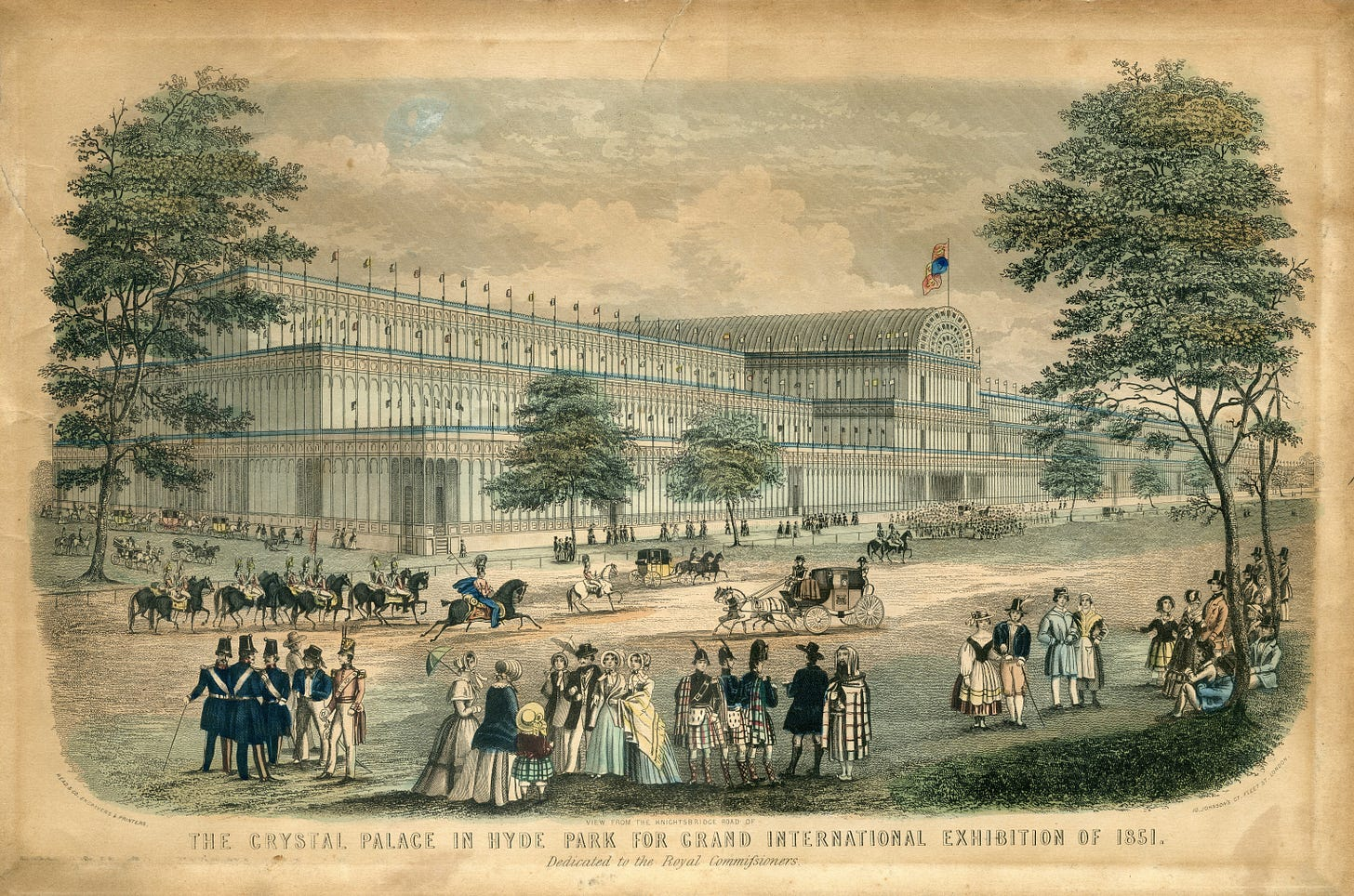 Enormous iron and glass greenhouse with Victorian people and horses outside