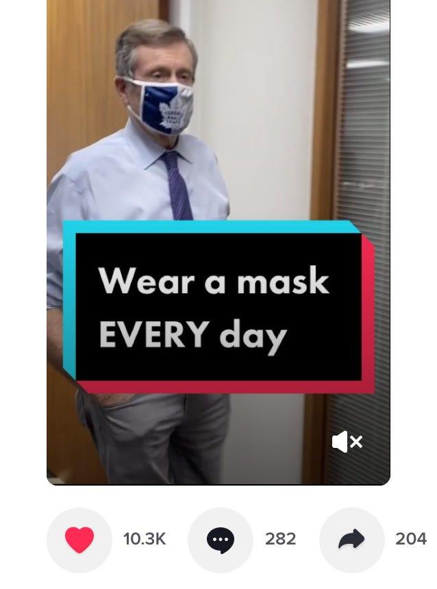 screenshot of Toronto Mayor John Tory's TikTok page