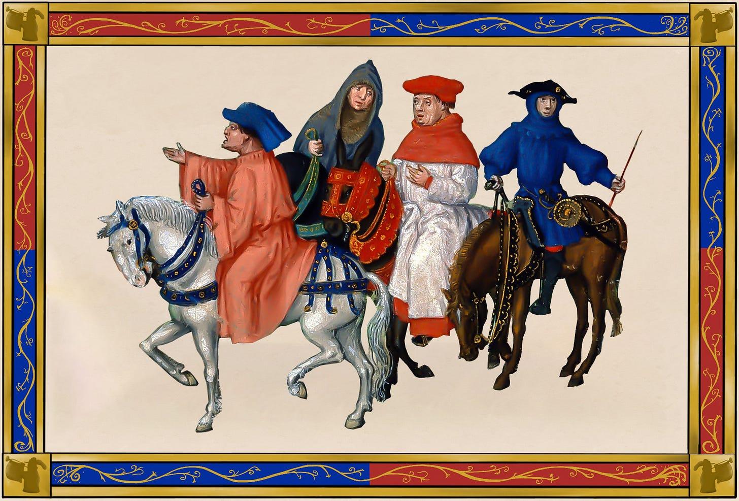 medieval horse traffic jam