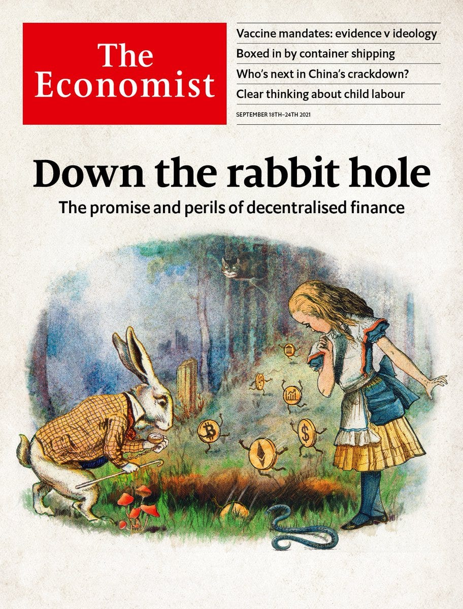 """The Economist on Twitter: """"Decentralised finance is one of three tech  trends disrupting finance—and it has the potential to rewire how the  industry works. In our cover this week, we go down"""