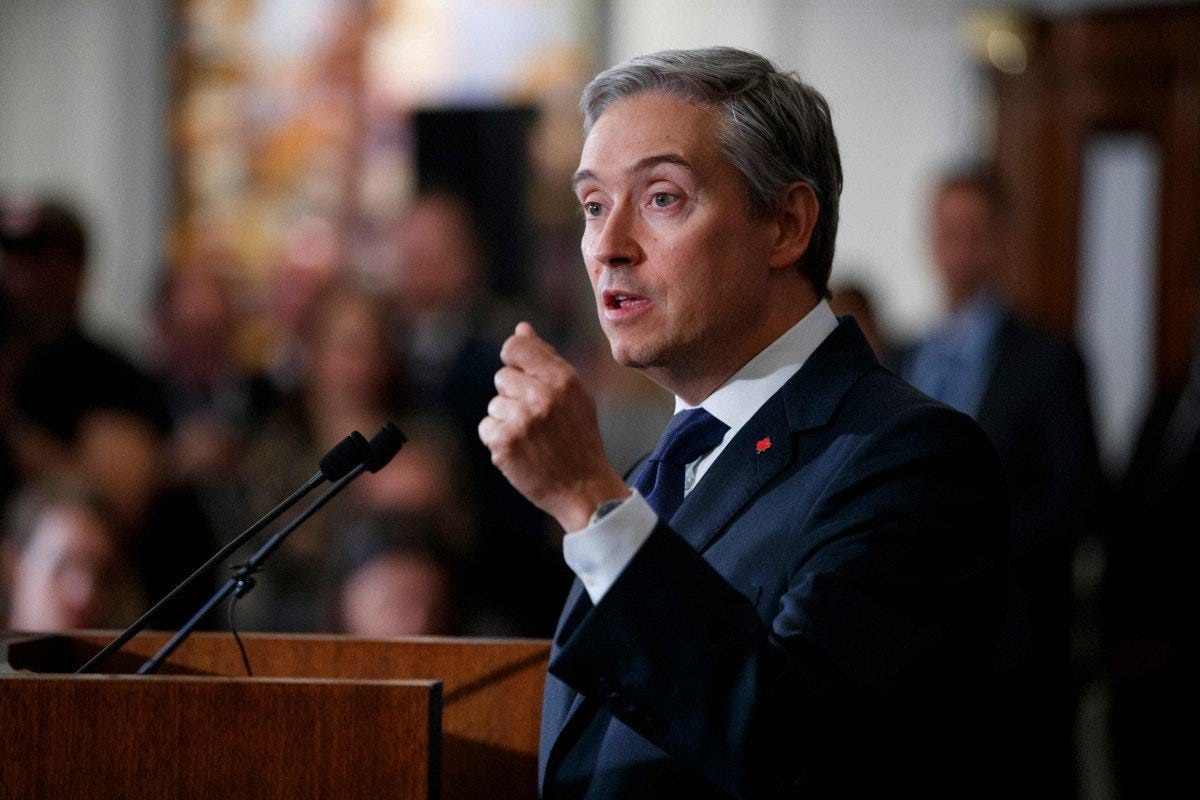 Canadian Minister of Foreign Affairs Francois-Philippe Champagne addresses a press conference at the High Commission of Canada in London in January. Photo: AFP