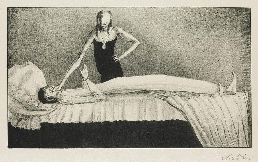Pintura em tons de cinza, um pessoa enferma numa cama tem o rosto coberto por uma mão de uma mulher de rosto de caveira que está ao lado da cama