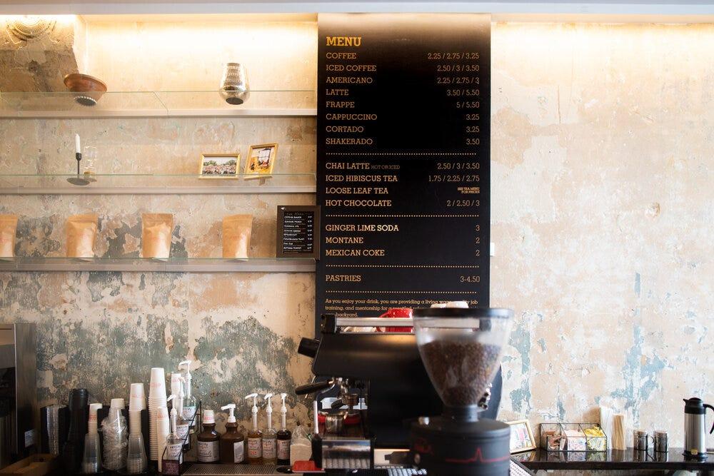 The menu at Refuge Coffee Co. in Sweet Auburn.
