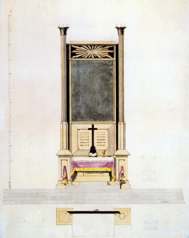 1817 Altar Design - pencil, ink and watercolour 54.8 x 43.7 cm