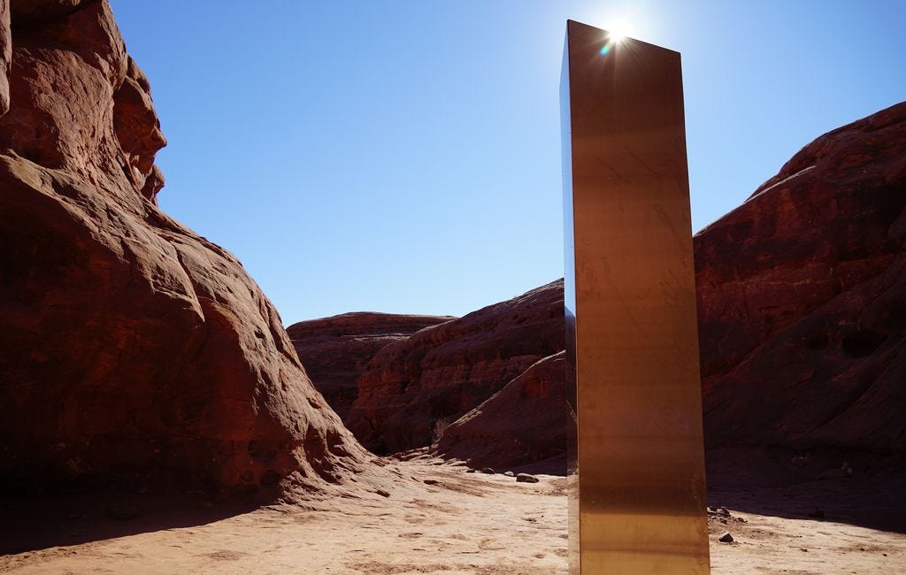 (Zak Podmore   The Salt Lake Tribune) A nearly 10-foot tall steel sculpture that was discovered in a remote canyon in San Juan County in mid-November drew attention from around the world, triggering a great debate over who created it and what its fate should be.
