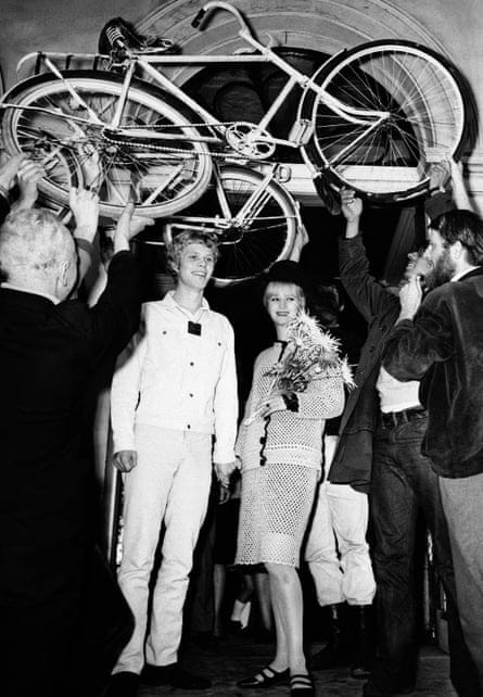 White-bike wedding: Sara Duijs' unconventional marriage to Rob Stolk, October 1965.