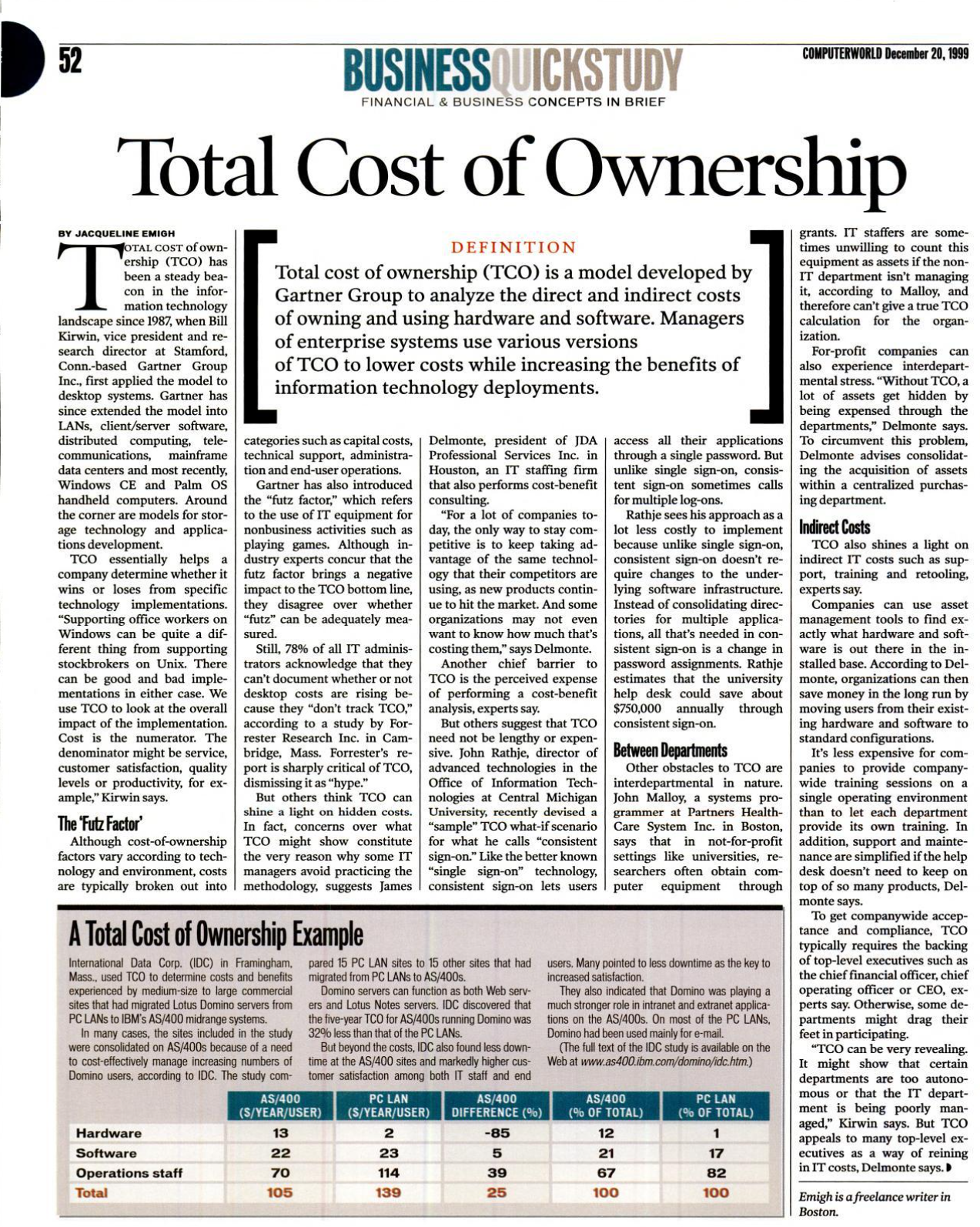 Page of scanned article explaining TCO