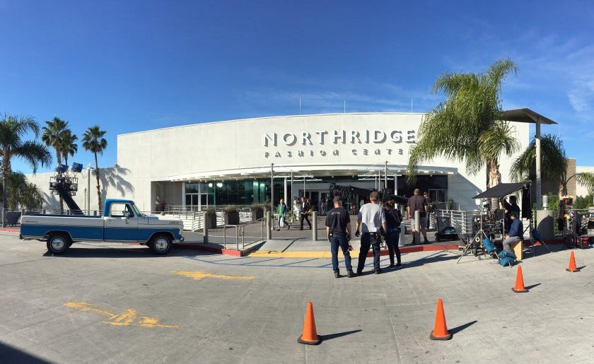 "Filming for the Netflix movie ""The Prom"" takes place at the Northridge Fashion Center in the San Fernando Valley."