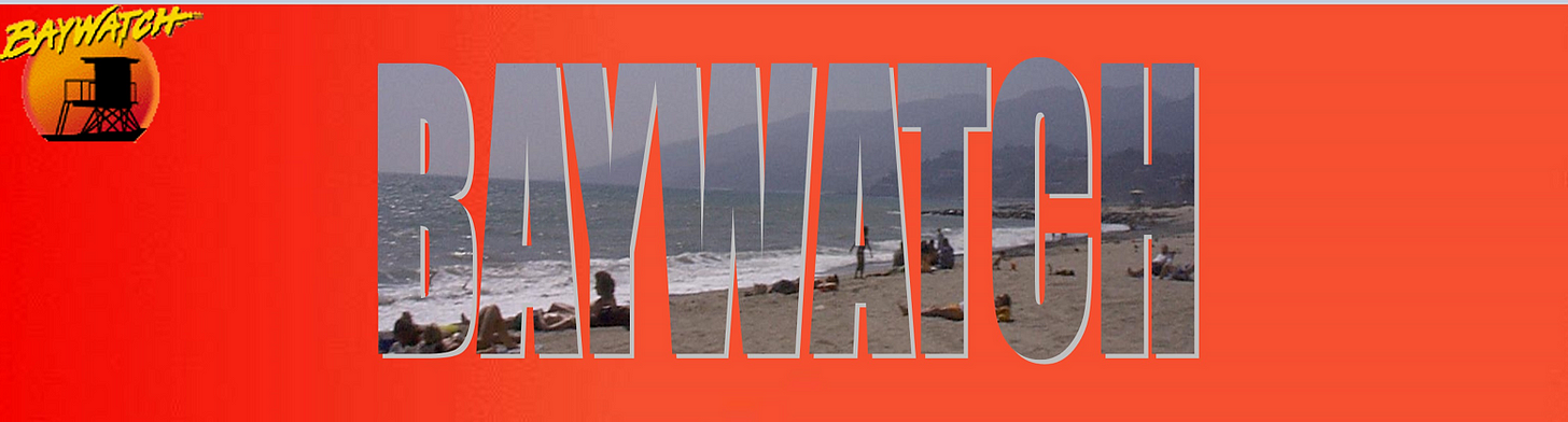 Baywatch logo -- text of Baywatch with an image of the ocean and beach filling in the letters.