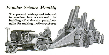 tractor pulling artillery, with a caption describing the use of both for filming