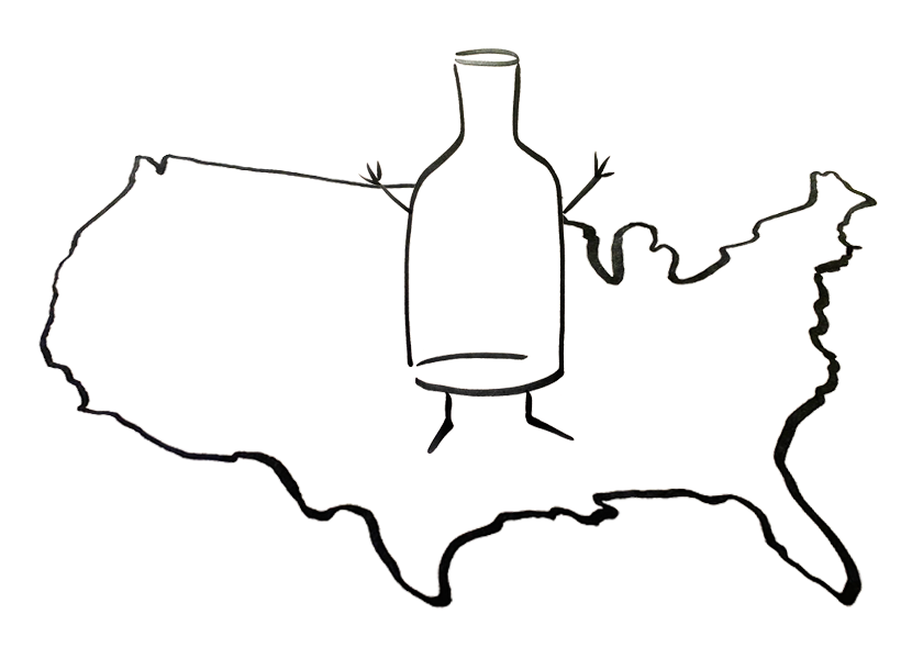 An anthropomorphic wine bottle standing on a map of the United States